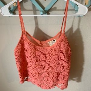 Crochet crop tank top! Coral slit in the back